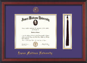 Image of James Madison University Diploma Frame - Cherry Reverse - w/Embossed Seal & Name - Tassel Holder - Purple on Gold mat
