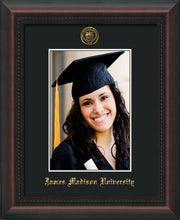 Image of James Madison University 5 x 7 Photo Frame - Mahogany Braid - w/Official Embossing of JMU Seal & Name - Single Black mat