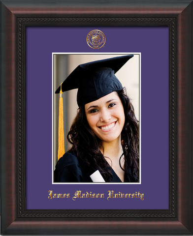 Image of James Madison University 5 x 7 Photo Frame - Mahogany Braid - w/Official Embossing of JMU Seal & Name - Single Purple mat