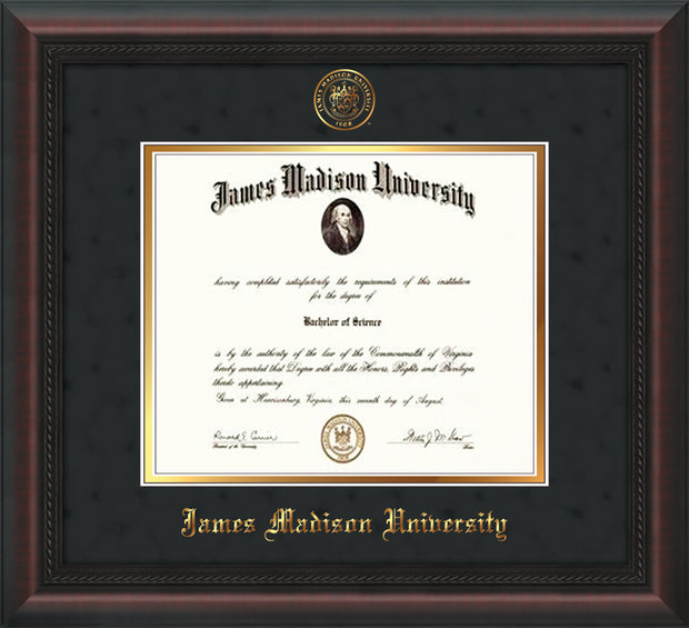 Image of James Madison University Diploma Frame - Mahogany Braid - w/Embossed Seal & Name - Black Suede on Gold mat