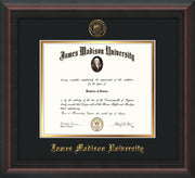 Image of James Madison University Diploma Frame - Mahogany Braid - w/Embossed Seal & Name - Black on Gold mat
