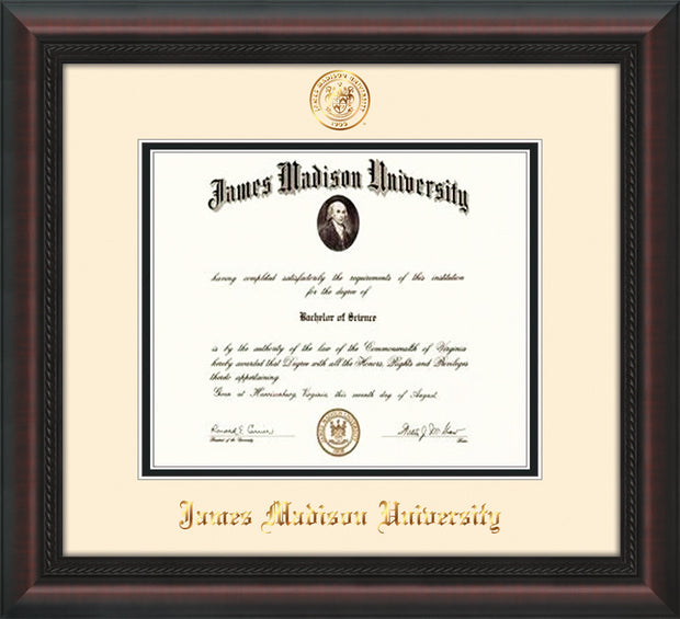 Image of James Madison University Diploma Frame - Mahogany Braid - w/Embossed Seal & Name - Cream on Black mat