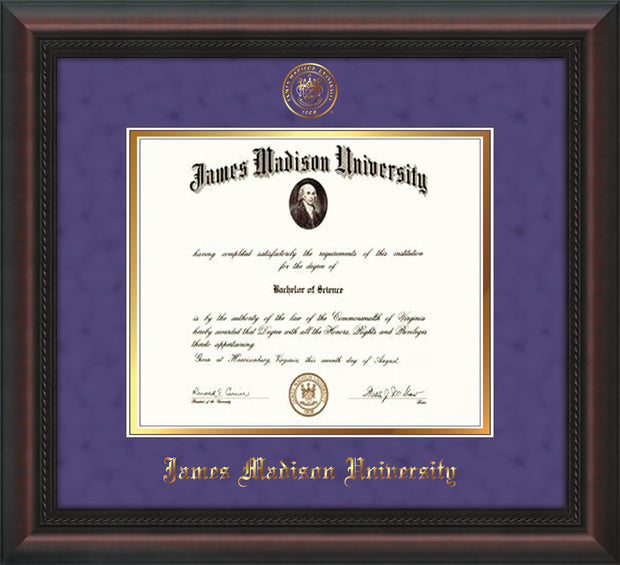 Image of James Madison University Diploma Frame - Mahogany Braid - w/Embossed Seal & Name - Purple Suede on Gold mat