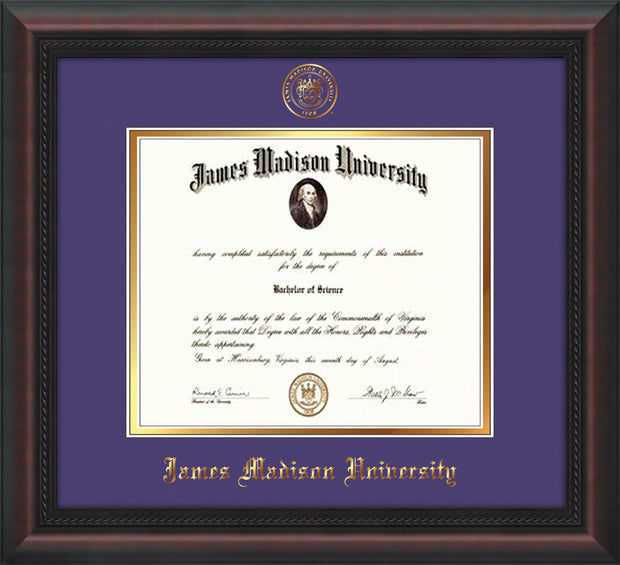 Image of James Madison University Diploma Frame - Mahogany Braid - w/Embossed Seal & Name - Purple on Gold mat