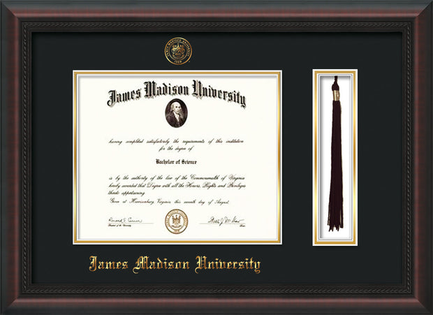 Image of James Madison University Diploma Frame - Mahogany Braid - w/Embossed Seal & Name - Tassel Holder - Black on Gold mat
