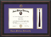 Image of James Madison University Diploma Frame - Mahogany Braid - w/Embossed Seal & Name - Tassel Holder - Purple on Gold mat