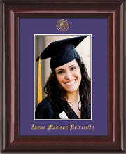 Image of James Madison University 5 x 7 Photo Frame - Mahogany Lacquer - w/Official Embossing of JMU Seal & Name - Single Purple mat
