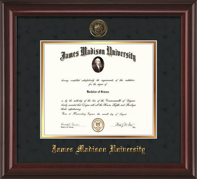 Image of James Madison University Diploma Frame - Mahogany Lacquer - w/Embossed Seal & Name - Black Suede on Gold mat