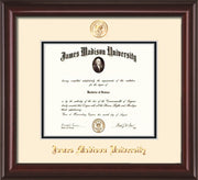 Image of James Madison University Diploma Frame - Mahogany Lacquer - w/Embossed Seal & Name - Cream on Black mat
