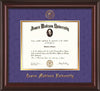 Image of James Madison University Diploma Frame - Mahogany Lacquer - w/Embossed Seal & Name - Purple Suede on Gold mat
