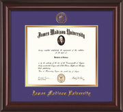 Image of James Madison University Diploma Frame - Mahogany Lacquer - w/Embossed Seal & Name - Purple on Gold mat