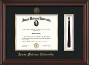 Image of James Madison University Diploma Frame - Mahogany Lacquer - w/Embossed Seal & Name - Tassel Holder - Black on Gold mat