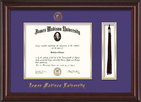 Image of James Madison University Diploma Frame - Mahogany Lacquer - w/Embossed Seal & Name - Tassel Holder - Purple on Gold mat
