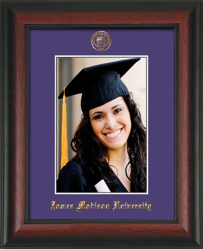 Image of James Madison University 5 x 7 Photo Frame - Rosewood - w/Official Embossing of JMU Seal & Name - Single Purple mat