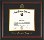 Image of James Madison University Diploma Frame - Rosewood - w/Embossed Seal & Name - Black Suede on Gold mat