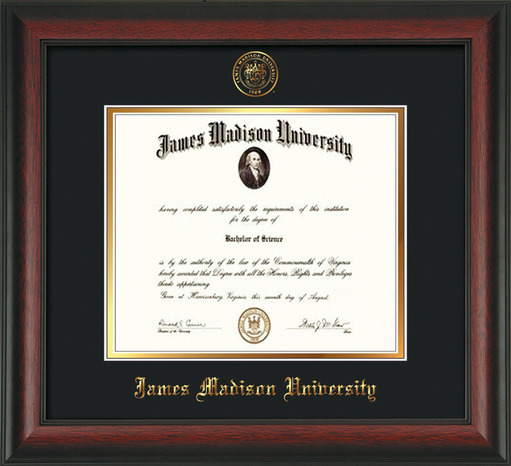 Image of James Madison University Diploma Frame - Rosewood - w/Embossed Seal & Name - Black on Gold mat