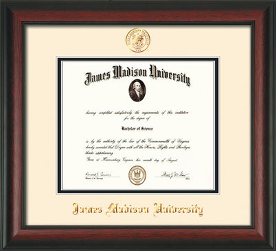 Image of James Madison University Diploma Frame - Rosewood - w/Embossed Seal & Name - Cream on Black mat