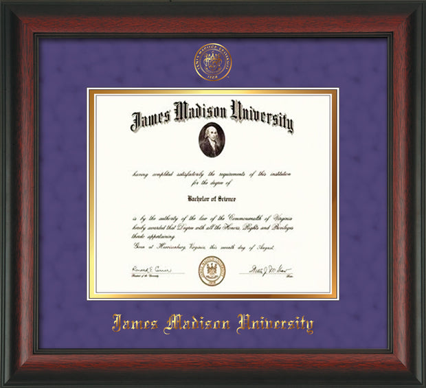 Image of ames Madison University Diploma Frame - Rosewood - w/Embossed Seal & Name - Purple Suede on Gold mat