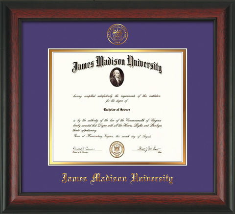 Image of James Madison University Diploma Frame - Rosewood - w/Embossed Seal & Name - Purple on Gold mat