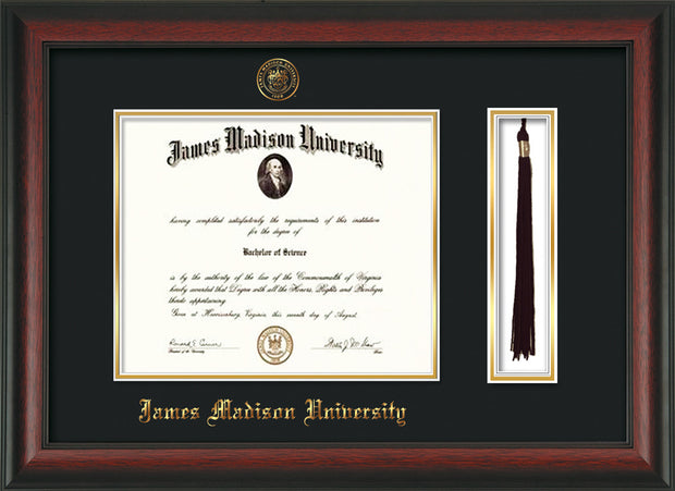 Image of James Madison University Diploma Frame - Rosewood - w/Embossed Seal & Name - Tassel Holder - Black on Gold mat