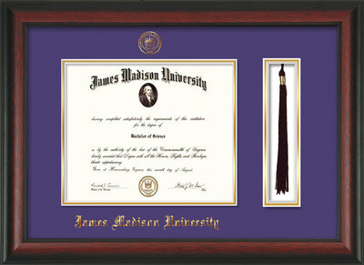 Image of James Madison University Diploma Frame - Rosewood - w/Embossed Seal & Name - Tassel Holder - Purple on Gold mat