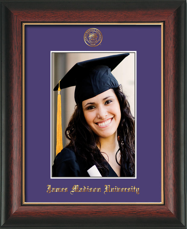 Image of James Madison University 5 x 7 Photo Frame - Rosewood w/Gold Lip - w/Official Embossing of JMU Seal & Name - Single Purple mat