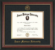 Image of James Madison University Diploma Frame - Rosewood w/Gold Lip - w/Embossed Seal & Name - Black Suede on Gold mat