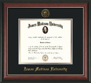 Image of James Madison University Diploma Frame - Rosewood w/Gold Lip - w/Embossed Seal & Name - Black on Gold mat