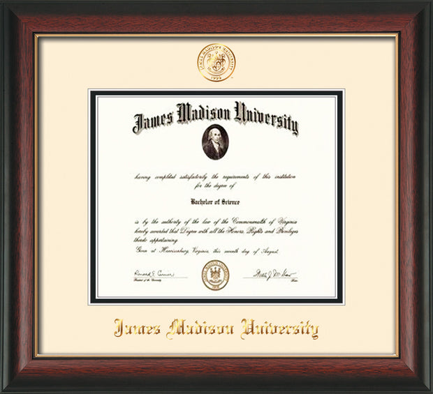 Image of James Madison University Diploma Frame - Rosewood w/Gold Lip - w/Embossed Seal & Name - Cream on Black mat