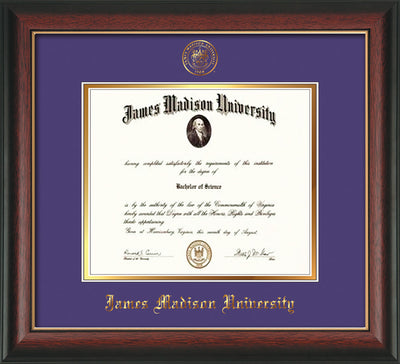 Image of James Madison University Diploma Frame - Rosewood w/Gold Lip - w/Embossed Seal & Name - Purple on Gold mat