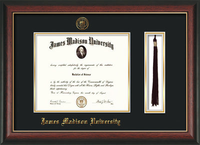 Image of James Madison University Diploma Frame - Rosewood w/Gold Lip - w/Embossed Seal & Name - Tassel Holder - Black on Gold mat