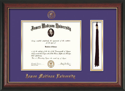 Image of James Madison University Diploma Frame - Rosewood w/Gold Lip - w/Embossed Seal & Name - Tassel Holder - Purple on Gold mat