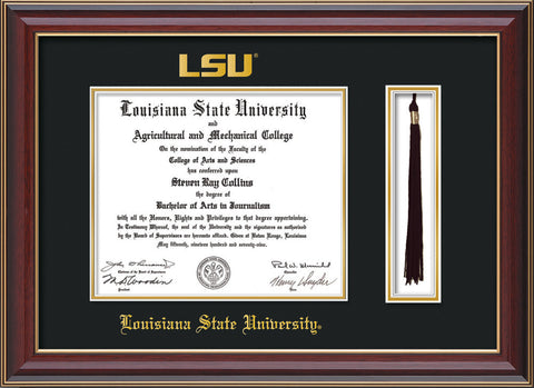 Image of Louisiana State University Diploma Frame - Cherry Lacquer - w/Embossed LSU Seal & Name - Tassel Holder - Black on Gold mat
