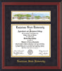 Image of Louisiana State University Diploma Frame - Cherry Reverse - w/LSU Embossed School Name Only - Campus Collage - Purple Suede on Gold mat