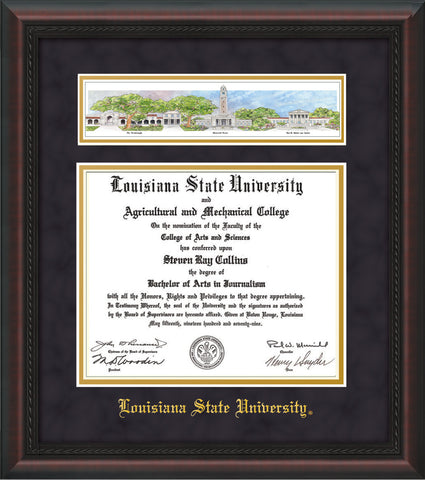 Image of Louisiana State University Diploma Frame - Mahogany Braid - w/LSU Embossed School Name Only - Campus Collage - Purple Suede on Gold mat