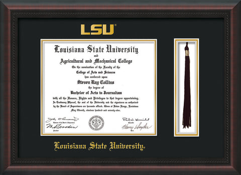 Image of Louisiana State University Diploma Frame - Mahogany Braid - w/Embossed LSU Seal & Name - Tassel Holder - Black on Gold mat