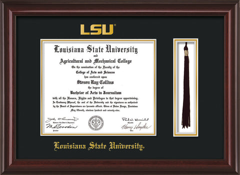 Image of Louisiana State University Diploma Frame - Mahogany Lacquer - w/Embossed LSU Seal & Name - Tassel Holder - Black on Gold mat