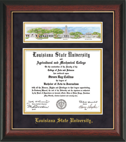 Image of Louisiana State University Diploma Frame - Rosewood w/Gold Lip - w/LSU Embossed School Name Only - Campus Collage - Purple Suede on Gold mat