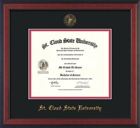 Image of St. Cloud State University Diploma Frame - Cherry Reverse - w/SCSU Embossed Seal & Name - Black on Red mat