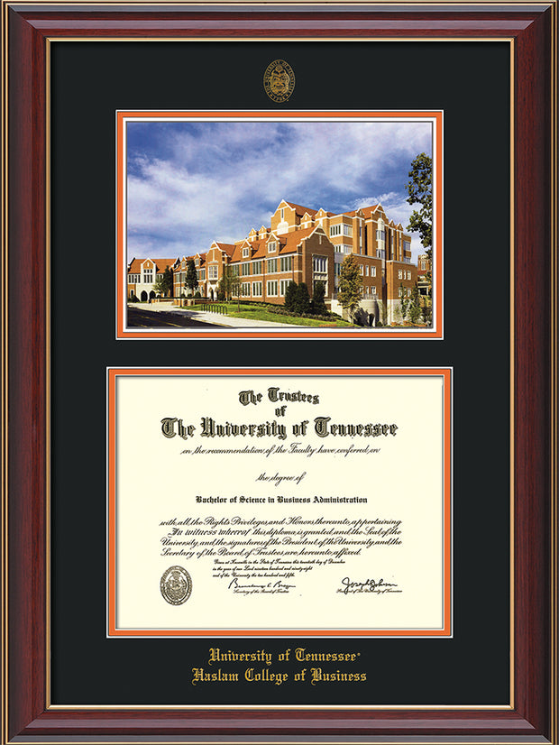 Image of University of Tennessee Haslam College of Business Diploma Frame - Cherry Lacquer - w/UT Embossed Seal & UTHAS Name - Campus Watercolor - Black on Orange Mat