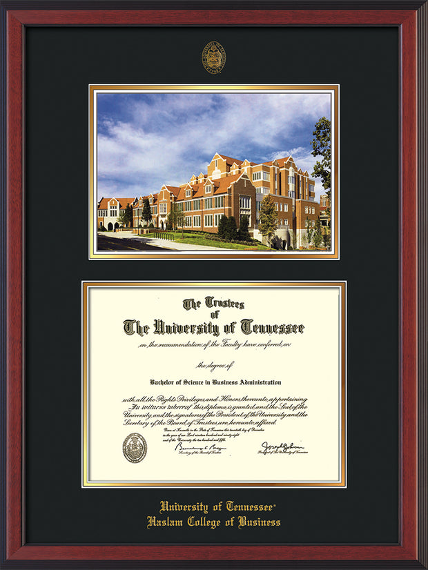 Image of University of Tennessee Haslam College of Business Diploma Frame - Cherry Reverse - w/UT Embossed Seal & UTHAS Name - Campus Watercolor - Black on Gold Mat