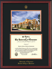 Image of University of Tennessee Haslam College of Business Diploma Frame - Cherry Reverse - w/UT Embossed Seal & UTHAS Name - Campus Watercolor - Black on Orange Mat