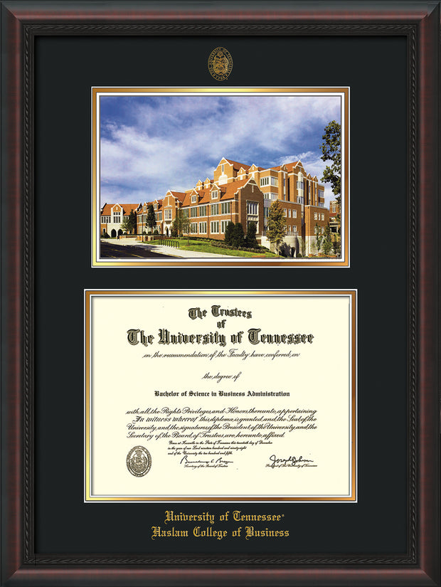 Image of University of Tennessee Haslam College of Business Diploma Frame - Mahogany Braid - w/UT Embossed Seal & UTHAS Name - Campus Watercolor - Black on Gold Mat