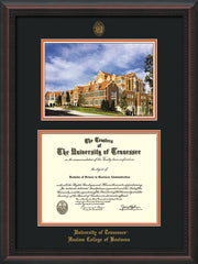 Image of University of Tennessee Haslam College of Business Diploma Frame - Rosewood with Gold Lip - w/UT Embossed Seal & UTHAS Name - Campus Watercolor - Black on Orange Mat