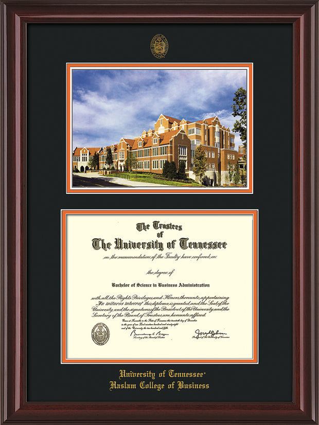 Image of University of Tennessee Haslam College of Business Diploma Frame - Mahogany Lacquer - w/UT Embossed Seal & UTHAS Name - Campus Watercolor - Black on Orange Mat