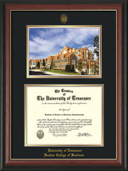 Image of University of Tennessee Haslam College of Business Diploma Frame - Rosewood w/Gold Lip - w/UT Embossed Seal & UTHAS Name - Campus Watercolor - Black on Gold Mat
