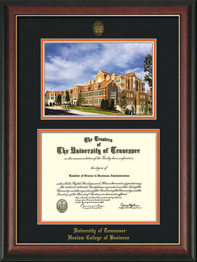Image of University of Tennessee Haslam College of Business Diploma Frame - Rosewood w/Gold Lip - w/UT Embossed Seal & UTHAS Name - Campus Watercolor - Black on Orange Mat