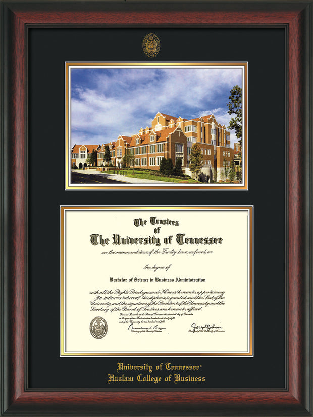 Image of University of Tennessee Haslam College of Business Diploma Frame - Rosewood - w/UT Embossed Seal & UTHAS Name - Campus Watercolor - Black on Gold Mat