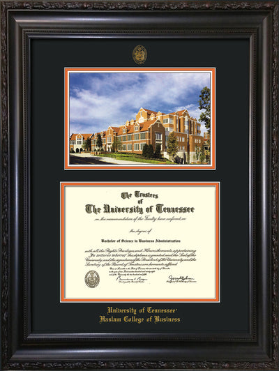 Image of University of Tennessee Haslam College of Business Diploma Frame - Vintage Black Scoop - w/UT Embossed Seal & UTHAS Name - Campus Watercolor - Black on Orange Mat