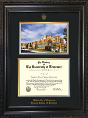 Image of University of Tennessee Haslam College of Business Diploma Frame - Vintage Black Scoop - w/UT Embossed Seal & UTHAS Name - Campus Watercolor - Black on Gold Mat